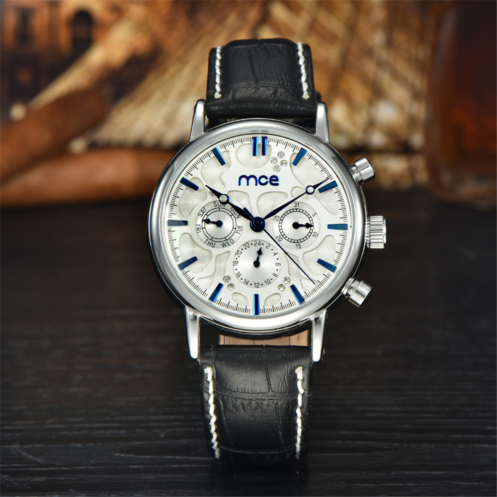 MCE Watches Luxury fashion Men Mechanical watch 6 Hands Auto date day wristwatch Back leather Band Waterproof Clock men 2016<br><br>Aliexpress