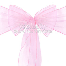 100pcs/lot Light Pink Sheer Organza Chair Sashes Bow Cover Wedding party Xmas Birthday Shower Decoration(China)