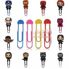 1pcs Cartoon Figure Super Hero Marvel's The Avengers bookmark holder paper clip Book marks school Office Supplies Stationery(China)
