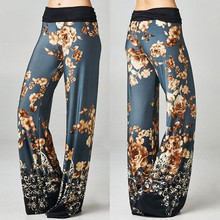 Ladies Casual Loose Wide Leg Pants Summer Floral Printing Trousers Female Summer Out Wear Clothes Pants PALAZZO TROUSERS