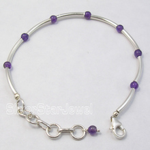Solid Silver Tubes & Pipes Natural Amethysts BEADS NICE Bracelet 7 5/8 Inches