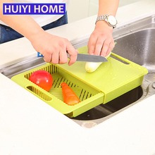 Huiyi Home 2-in-1 Sliding Chopping Board Washing Draining Basket Creative Kitchen Products EGN141