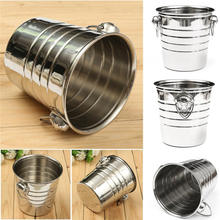 Stainless Steel Cubes Barrel Ice Container Barrel Bucket Home Bar Beer Wine Cooler Champagne 18x19cm