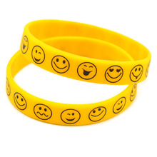 Promo Gift 50PCS/Lot Cheap Printed Smile Face Silicone Wristband for Supermarket or Any of Business Hall(China)