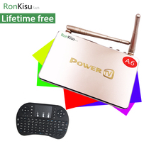 Best Arabic Turkish German Africa iptv tv box A6 with 2.4Ghz full keyboard, lifetime free forever android internet streamer(China)