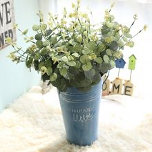 52 CM artificial eucalyptus leaf Green plant branches flower arranging accessories money leaves silk fake flowers(China)