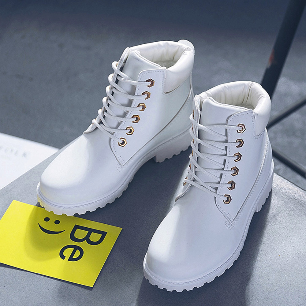 Szyadeou Women Ladies Round Toe Lace-up Faux Boots Ankle Casual Martin Shoes botas mujer invierno kozaki damskie schoenen 30 19