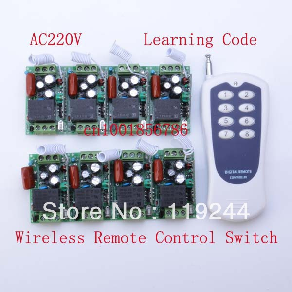 220V 8CH Radio RF Wireless Remote Control Switch Receiver&amp; transmitter Learning Codelight lamp LED ON OFF Output Adjusted mini<br>