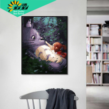 XIXI Art Handmade Picture  DIY Digital Oil Paintings On Canvas Home Decoration My Neighbor Totoro Painting By Numbers WX10
