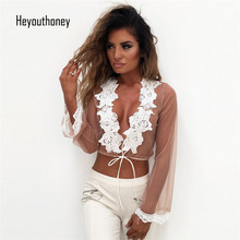 Buy Heyouthoney Summer Fashion embroidery Women Clothing Perspective long sleeve Chiffon Lace Cardigan Gauze Lacing Boleros Crop Top for $8.86 in AliExpress store