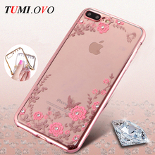 Luxury Plating Diamond Flowers TPU Clear Soft Case for iPhone 7 6 6S 5 5S 5SE Cover for iPhone 6 6S 7 Plus Phone Cases