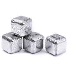 4Pcs Wine Stainless Steel Cooler Stones Ice Cube Soapstone Whiskey Wine Beer Rocks Alcohol Physical Chiller Stone