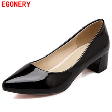 EGONERY Low Square Heels Womens Pumps Patent Leather Pointed Toe Slip On Spring Air Dress Shoes Woman Plus Size US 14