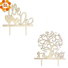 New Arrival!1PC Romantic Wooden Wedding Cake Decor Cake Topper Tree&We Do Cake Toppers For Wedding Party Decoration Cake Decor