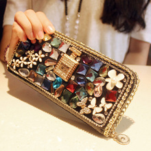 High quality new design fashion luxury charm diamond bow color crystal perfume wallets purse clutch evening bags casual