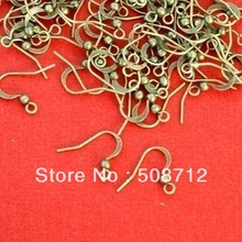 NEW Wholesale 1000Pcs Fish Hook Earring Ear Wire Flat with Coil Antique Bronze FIT jewelry making(China)