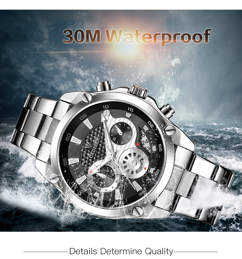 Top Brand Luxury CADISEN Mens Watch Full Steel Sport Watches Fashion Quartz Military Wrist Watch Relogio Masculino Waterproof 5