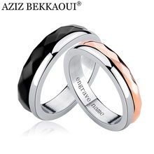AZIZ BEKKAOUI Customized Name Wedding Rings Stainless Steel Rotatable Rings Unique Fated to Love You Couple Rings  for Men Women