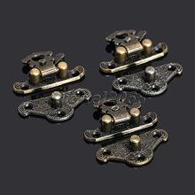 12Pcs Antique Latches Catches Hasps Clasp Wooden Buckles Decorative Jewelry Wooden Box Latch Hook +Screw Funitures Decor 28x23mm(China)