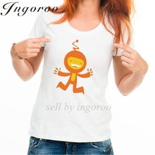 Babaseal Funny Little Orange Creature Flat Print Women's Tshirts Hipster Summer Shirts Sheer Mesh Top Fashion Brand Tops 2017