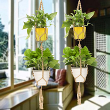 Handmade Macrame Plant Hanger Pot Holder Polyester Rope Bright Garden Home Decoration 2 Tiers Flower Plant Display Mayitr(China)