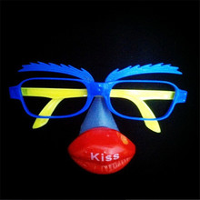 15pcs/lot LED clown party glasses cute cartoon glowing mask glasses masquerade party mask funny light up toy photo booth props