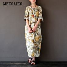 Spring Dress O Neck Leisure Loose Three Quarter Sleeve Long Dress Cotton and Linen Dress Vintage Maxi Dress
