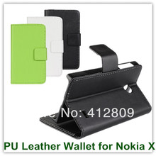 Classic PU Leather White Black Green SKin Slot Stand PU Leather Back Protective Cover Case for Nokia X A110 Phone Bags(China)