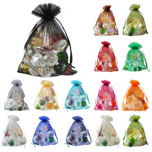 100 pcs/lot Wedding Decoration Sheer Organza Jewelry Candy Bags Pendent Mixed Color Mini Gift Pouch Bags Wedding Decoration