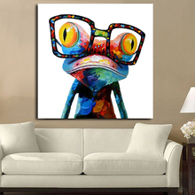 Modern Abstract Oil Painting Animal Art Pictures Set Handpainted Colorful Glasses Frog Canvas For Home Decoration Living Room(China)