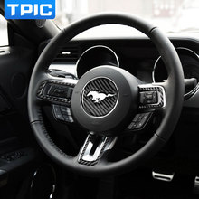For Ford Mustang Carbon Fiber Steering Wheel Emblem 3D Car Stickers Car Styling 2015 2016 2017 Auto Accessories(China)