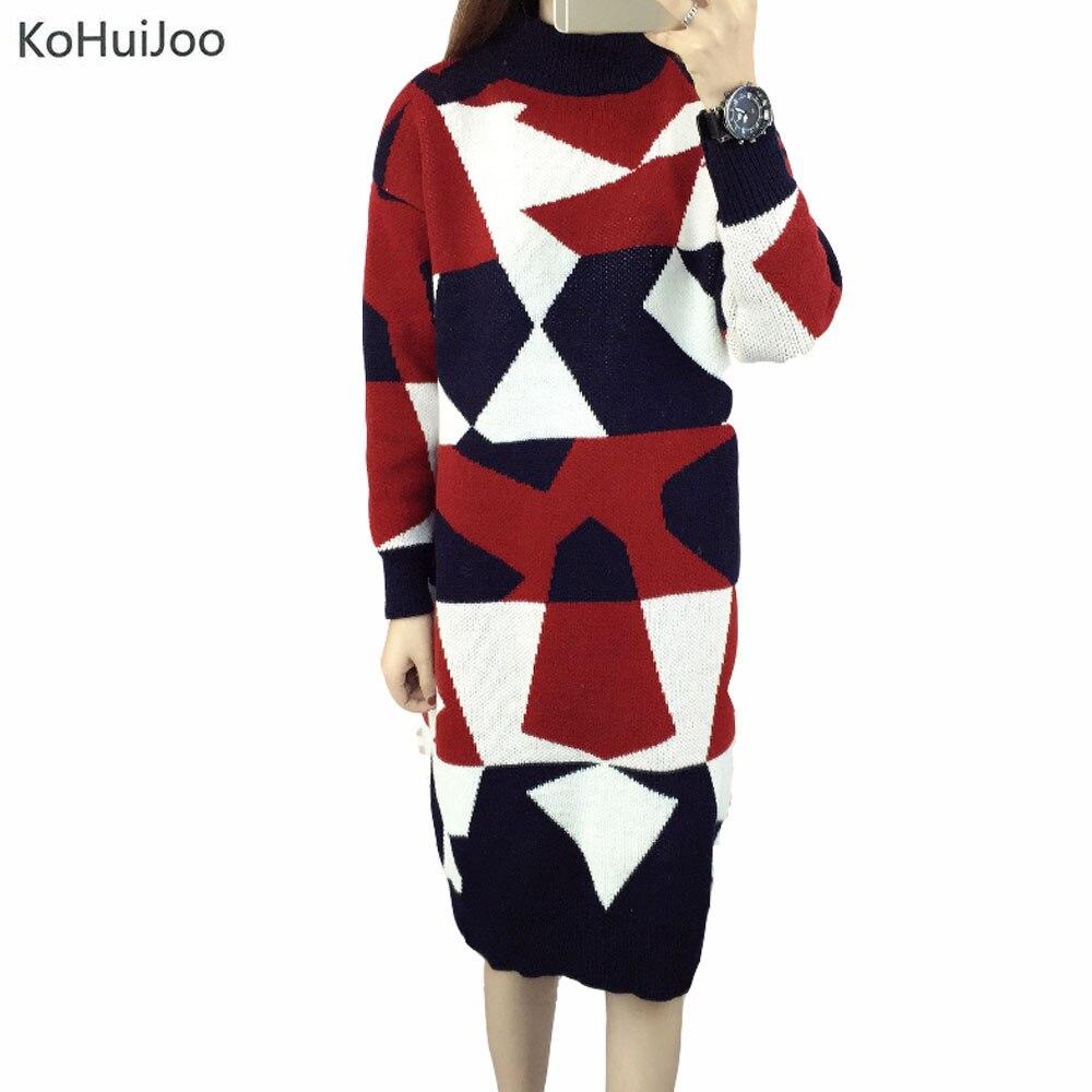 KoHuiJoo Autumn Winter Women Sweater Dress Medium Long 2018 Korean Warm Knitted Geometric Dress Half Turtleneck Long Sleeve SexyÎäåæäà è àêñåññóàðû<br><br>