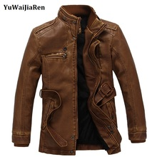 YuWaiJiaRen Mens Leather jackets and coats Thick Warm Pilot Leather Jacket Wool Liner Leather Suede Slim Fit Jacket with Belt