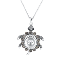 Crystal Snap Button Jewelry Pendant With Charm Chain Tortoise Necklace Fit 18/20mm DIY Snap Necklace Jewelry For Women