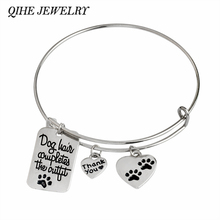 "QIHE JEWELRY ""Dog hair completes the outfit"" Paw Prints Dog Tag Heart Shape Charm Bangle Bracelet Paw Lover Jewlry"