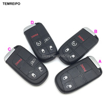 TEMREIPO 5pcs/lot New style replacement smart card cover remote key case shell for chrysler for dodge for jeep car