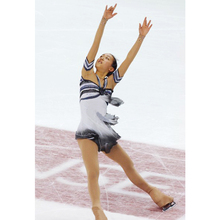 Customized Costume Ice Figure Skating Gymnastics Dress Competition Adult Child Girl Skirt Performance Check Stripes White Gray