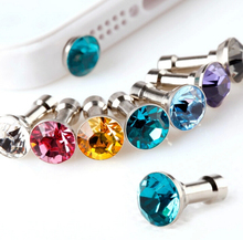 Free Shipping 10 pcs 3.5mm Rhinestone Anti Dust Earphone Plug Cover Stopper Cap For Samsung iPhone Cell Phones Wholesale