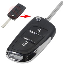 2 Button Modified Flip Folding Key Shell Case For Peugeot 207 307 308 407 807 Remote fob With Chrome logo
