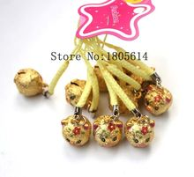 2016 New 500pcs phone Decoration Golden pig Copper Jingle Bells cute Bells lanyard Festival/Party Decoration Free Shipping