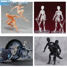 2017 Figma Artist Movable Limbs Male Female 13cm PVC Sketch model Toy Figure Model Mannequin bjd Art Sketch Draw Action Figures(China)
