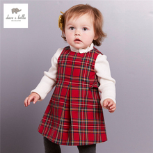 DB3963 dave bella autumn baby girl red plaid dress Scotland grid red dress sleeveless