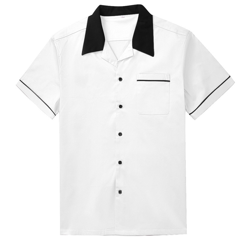 black collar shirt men white