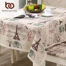 BeddingOutlet Tablecloth Eiffel Tower Linen Cotton Table Cloth Rectangular Lace Edge Europe Table Cover 9 Sizes Hot