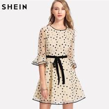 Buy SHEIN Allover Geometric Print Exaggerate Flare Sleeve Dress Women Round Neck 3/4 Sleeve Belted Short Dress 2018 Elegant Dress for $31.00 in AliExpress store