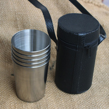 5pcs/Lot Large Stainless Steel Mug 340ML Outdoor Camping Drinking Water Mug Portable Travel Beer Mug With Holster(China)