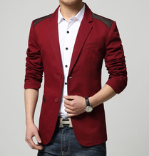 Hot Sale 2016 New Sping Fashion Brand Red Blazer Men Casual Suit Jacket Splice Men Slim Fit Suits Two Button Men Suit Men 3XL