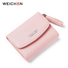 WEICHEN Brand Designer 2017 Tassel Women's Wallet Card Holder Coin Purse Soft Slim Small Wallets for Lady Girl Female Carteira(China)