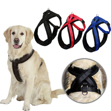 Adjustable Large Dog Harness Collar Soft Pet Chest Strap Mesh Harness for Dog's Nylon Dog Lead Harness 3 Colors S/M/L/XL(China)
