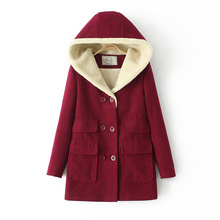 Winter New women woolen coat thick warm Jacket Solid Color Lamb Wool coat Double-Breasted Hooded cotton Coat Casual loose Parka
